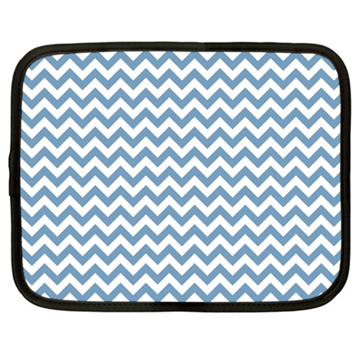 Blue And White Zigzag Netbook Sleeve (XXL)
