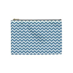 Blue And White Zigzag Cosmetic Bag (medium)