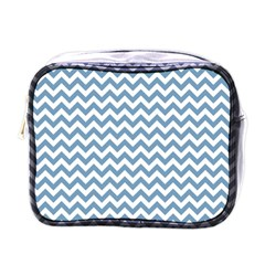 Blue And White Zigzag Mini Travel Toiletry Bag (one Side)