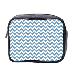 Blue And White Zigzag Mini Travel Toiletry Bag (two Sides)