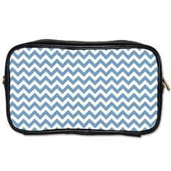 Blue And White Zigzag Travel Toiletry Bag (One Side)