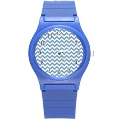 Blue And White Zigzag Plastic Sport Watch (small)