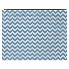 Blue And White Zigzag Cosmetic Bag (XXXL)