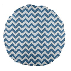 Blue And White Zigzag 18  Premium Round Cushion