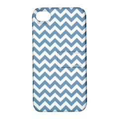 Blue And White Zigzag Apple iPhone 4/4S Hardshell Case with Stand