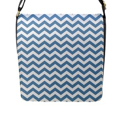 Blue And White Zigzag Flap Closure Messenger Bag (Large)