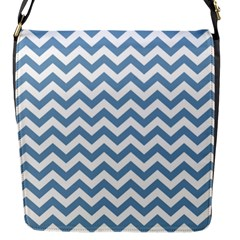 Blue And White Zigzag Flap Closure Messenger Bag (Small)