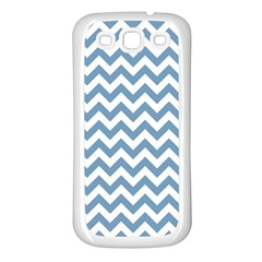 Blue And White Zigzag Samsung Galaxy S3 Back Case (White)