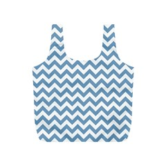 Blue And White Zigzag Reusable Bag (S)