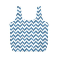 Blue And White Zigzag Reusable Bag (M)