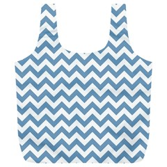 Blue And White Zigzag Reusable Bag (XL)