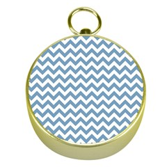 Blue And White Zigzag Gold Compass