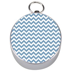 Blue And White Zigzag Silver Compass
