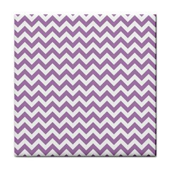 Lilac And White Zigzag Ceramic Tile