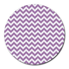 Lilac And White Zigzag 8  Mouse Pad (round)