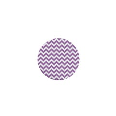 Lilac And White Zigzag 1  Mini Button