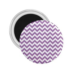 Lilac And White Zigzag 2.25  Button Magnet