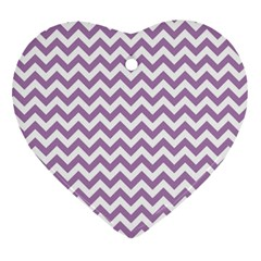Lilac And White Zigzag Heart Ornament