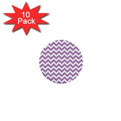 Lilac And White Zigzag 1  Mini Button (10 pack)