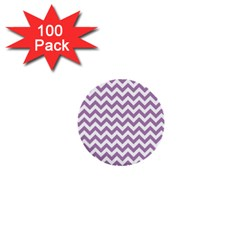 Lilac And White Zigzag 1  Mini Button (100 pack)