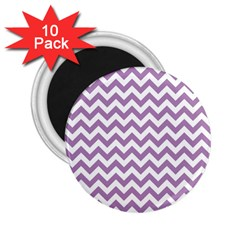 Lilac And White Zigzag 2 25  Button Magnet (10 Pack)
