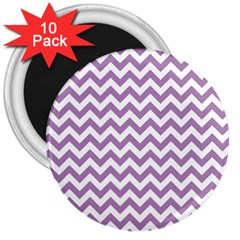 Lilac And White Zigzag 3  Button Magnet (10 Pack)