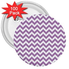 Lilac And White Zigzag 3  Button (100 pack)