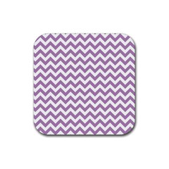 Lilac And White Zigzag Drink Coaster (Square)