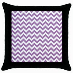 Lilac And White Zigzag Black Throw Pillow Case