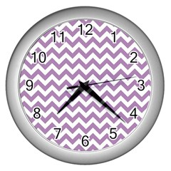 Lilac And White Zigzag Wall Clock (Silver)