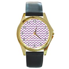 Lilac And White Zigzag Round Leather Watch (gold Rim)