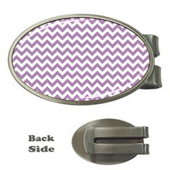 Lilac And White Zigzag Money Clip (oval)