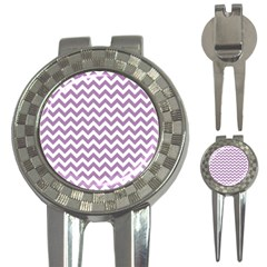 Lilac And White Zigzag Golf Pitchfork & Ball Marker