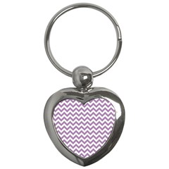 Lilac And White Zigzag Key Chain (Heart)