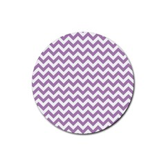 Lilac And White Zigzag Drink Coaster (Round)