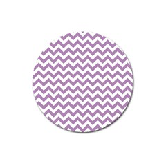 Lilac And White Zigzag Magnet 3  (Round)