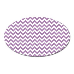 Lilac And White Zigzag Magnet (Oval)
