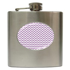 Lilac And White Zigzag Hip Flask