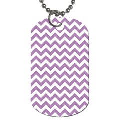 Lilac And White Zigzag Dog Tag (two Sided)