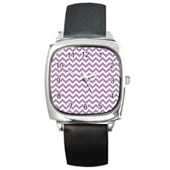 Lilac And White Zigzag Square Leather Watch