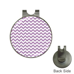 Lilac And White Zigzag Hat Clip with Golf Ball Marker