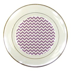 Lilac And White Zigzag Porcelain Display Plate