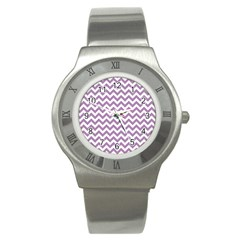 Lilac And White Zigzag Stainless Steel Watch (Slim)