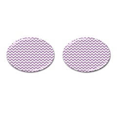Lilac And White Zigzag Cufflinks (Oval)