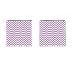 Lilac And White Zigzag Cufflinks (Square)