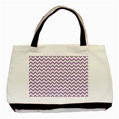 Lilac And White Zigzag Classic Tote Bag