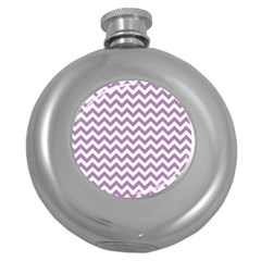 Lilac And White Zigzag Hip Flask (round)