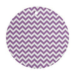 Lilac And White Zigzag Round Ornament (Two Sides)