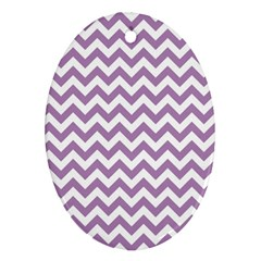 Lilac And White Zigzag Oval Ornament (two Sides)
