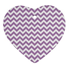 Lilac And White Zigzag Heart Ornament (Two Sides)